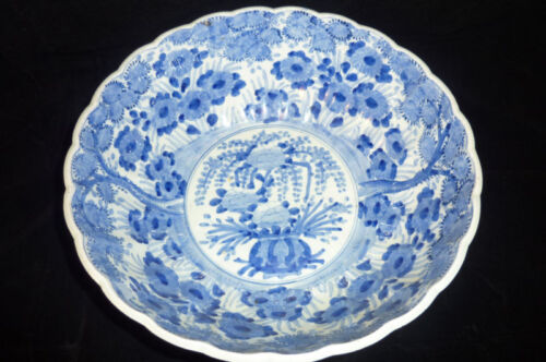ANTIQUE CHINESE BOWL BLUE AND WHITE NO CHIPS ..