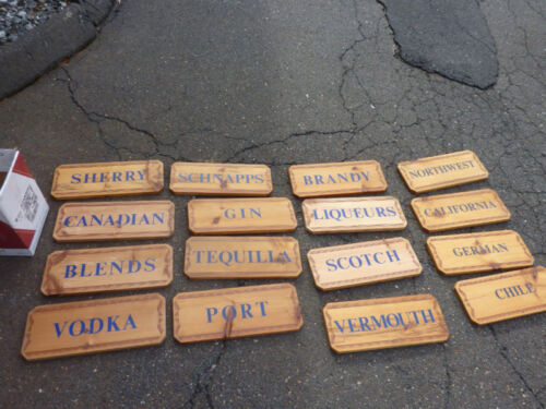 "16 LIQUOR store signs pine boards 18 x 7.25"" c1970-80's"