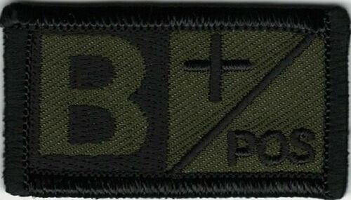 Olive Green Black Blood Type B+ Positive Patch VELCRO® BRAND Hook Fastener CompaArmy - 48824