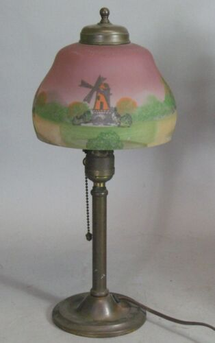 "Antique 17"" Reverse Painted Lamp w/ Windmills  c. 1920  Art Deco Nouveau"