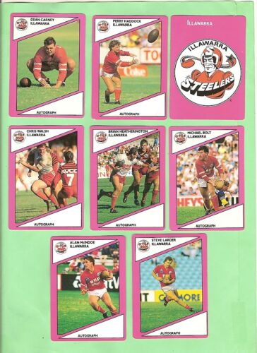 1988 Scanlens Rugby League Cards - Illawarra Steelers
