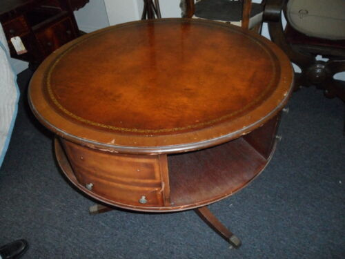 1940-1950 Vintage Leather Top with Gold Leaf Embossed Rotating Drum Table