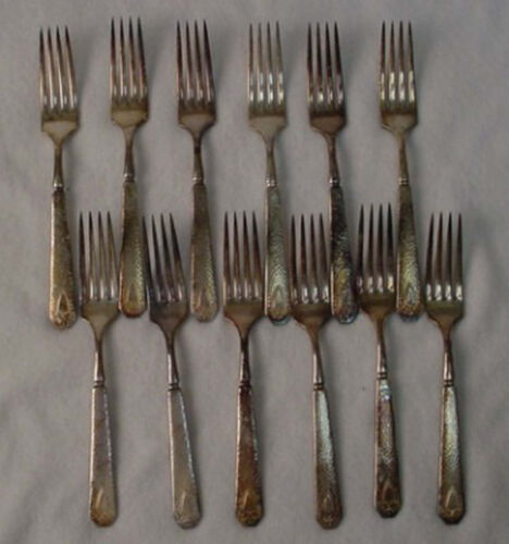 INTERNATIONAL silverplate HERALDIC 1916 Indented Solid Handled Fork - Set of 12