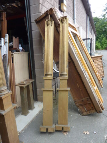 """c1900 SALVAGED pilasters NY state theatre OAK fluted CORINTHIAN capital 85"""" H"""