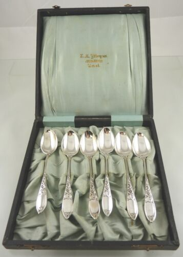 unknown POINTED SCROLL CASED SET OF 6 COFFEE SPOONS BY HF DENMARK SILVERPLATE