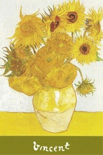 VINCENT VAN GOGH ART POSTER ~ GREEN SIGNATURE SUNFLOWERS 24x36 Fine Masterpeice