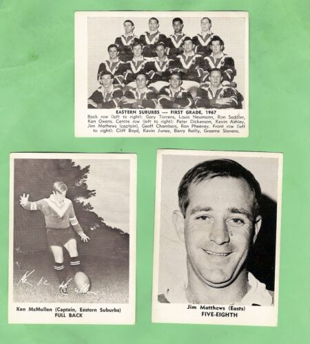1967 Mirror Newspaper Rugby League Cards - Eastern Suburbs Roosters