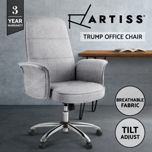 Artiss Fabric Office Chair Task Side Conference Computer Desk Chairs Seat Grey <br/> Breathable Fabric / Tilt Adjustment / Meeting Chair