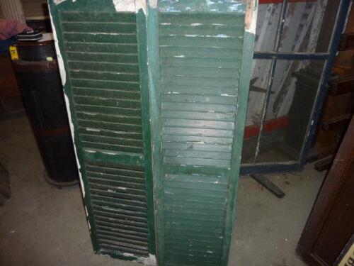 """PaiR antique c1940's louvered house window SHUTTERS dark GREEN 53 x 14.25"""""""