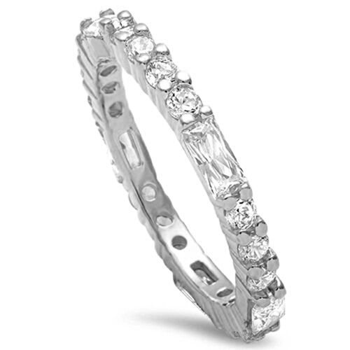 Round & Baguette Cz Eternity Band .925 Sterling Silver Ring Sizes 4-12