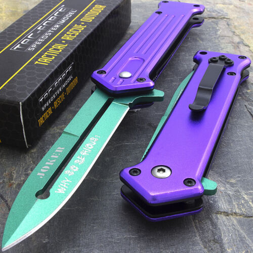 "JOKER 7.5"" TAC FORCE GREEN SPRING OPEN ASSISTED STILETTO FOLDING POCKET KNIFE"