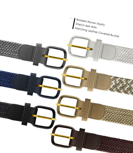 """7001 Men's Leather Covered Buckle Woven Elastic Stretch Belt 1-1/4"""" Wide"""