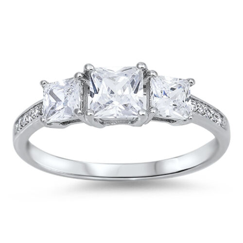 3 STONE PRINCESS CUT CZ ENGAGEMENT .925 Sterling Silver Ring SIZES 4-12