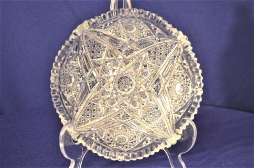 "Vintage Cut Crystal Shallow Bowl w. Star Designs 6""  Home Decor Wedding Vase"