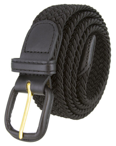 """Black Leather Covered Buckle Woven Elastic Stretch Belt 1-1/4"""" Wide, Black"""