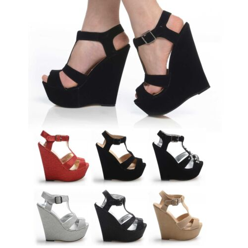 NEW STRAP BUCKLE OPEN TOE HIGH PLATFORM WEDGES WOMENS SHOES SHIMMER GLITTER LORE