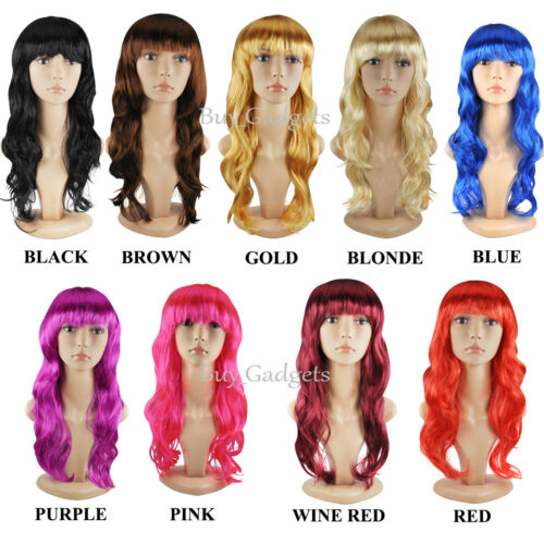 WOMENS LADIES LONG WAVY CURLY FANCY DRESS COSPLAY WIGS POP PARTY COSTUME FULL
