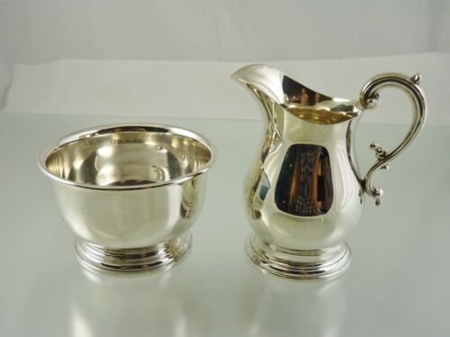 PLAIN STERLING CREAM & SUGAR SET BY BIRKS STERLING 1953/54