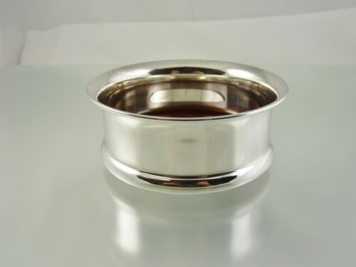 PLAIN ROUND WINE BOTTLE COASTER STERLING & WOOD BY MCH LONDON 2000
