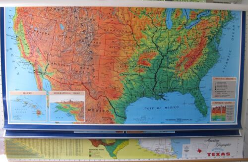 TEXAS, WORLD AND UNITED STATES MAP by CRAM, 3-layer map, measures 69 x 46 inches