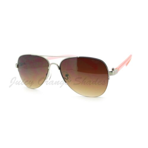 Women's Small Size Aviator Sunglasses Petite Half Rim Aviators