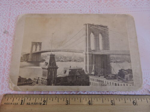 Inaugural 1883 Brooklyn Bridge Cabinet Card Photo NYC New York City 4.5 x 6.5