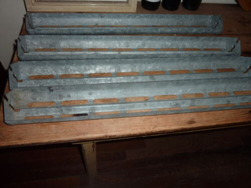 """ANTIQUE salvaged CHICKEN feed tray GALVANIZED metal DECORATORs potential 26 x 4"""""""