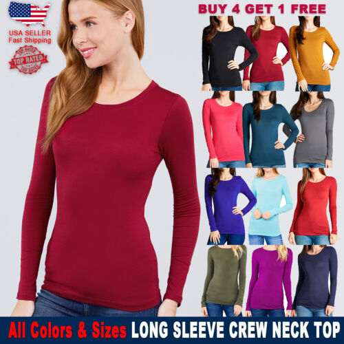 New Women Active Solid Long Sleeve Shirts Neck Basic Top S/M/L Free Ship USA