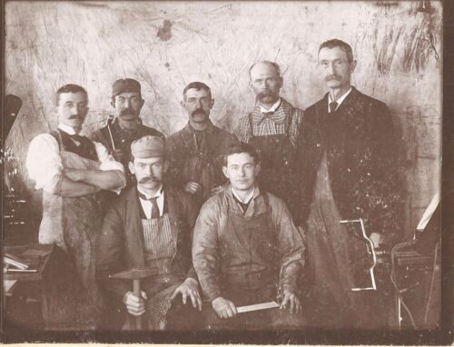 Occupational Cabinet Photograph ~ Construction Workers w/ Tools c1900