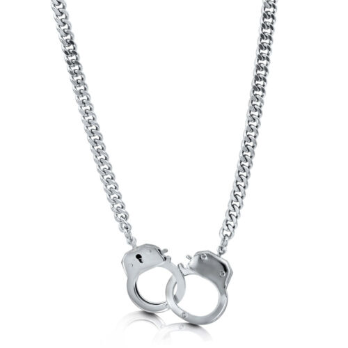 BERRICLE Silver-Tone Handcuffs Fashion Chain Necklace
