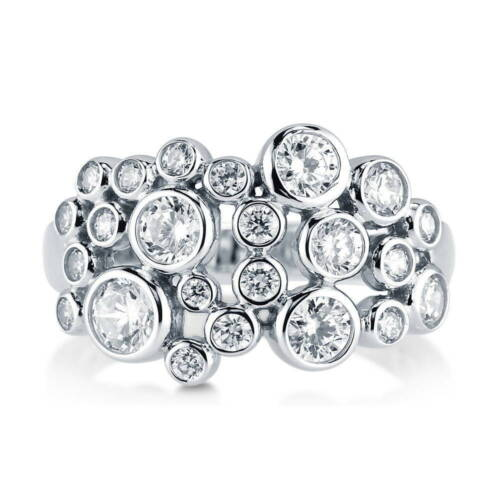 BERRICLE Sterling Silver CZ Bubble Fashion Right Hand Cocktail Ring