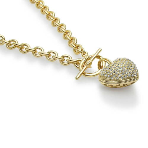 BERRICLE Gold-Tone Rhinestone Heart Fashion Toggle Pendant Necklace