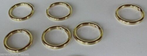 """5 Solid Brass Split Key Rings 18.8mm / .74"""" (3/4"""") Polished Corrosion Resistant"""