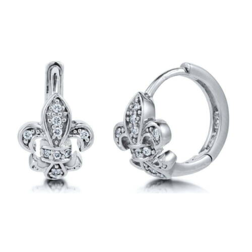 BERRICLE Sterling Silver CZ Fleur De Lis Hoop Huggie Earrings 0.5""