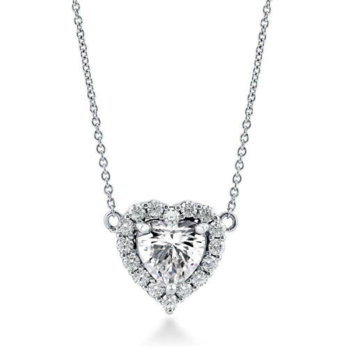 BERRICLE Sterling Silver Heart Shaped Cubic Zirconia CZ Halo  Pendant