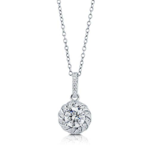 Silver Solitaire Pendant Necklace Made with Swarovski Zirconia 1.275 CT