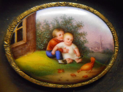 Antique Miniature Framed Painting On Porcelain Medallion - Children & Chickens