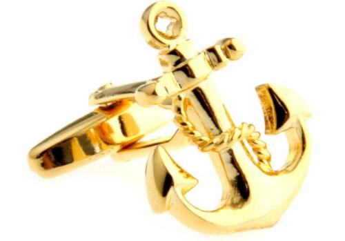 Anchor Cufflinks USN Navy Sailor Gold Boat Ship Wedding Groom Father Gift Box