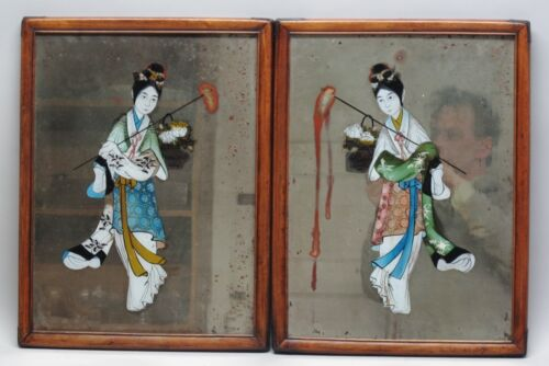 Fine Pair of Antique Chinese Reverse Painting on glass c. 1850 Ladies w/ Poles