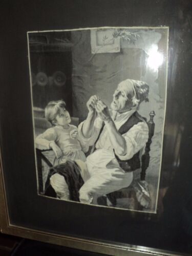 Woven Silk Textile STEVENGRAPH OF A TAILOR AND LITTLE GIRL NEYRET FRERES Bechi