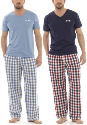 Tom Franks Mens Checked Cotton Mix T-Shirt Long Pyjamas
