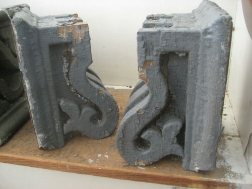 "PAIR victorian GINGERBREAD corbel BRACKETS old grey PAINT 9.5"" X 7.75"" X 6.25"""