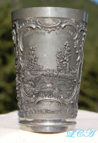 Rare ST PAUL MINNESOTA pewter ANTIQUE souvenir cup with detailed OLD scenes !