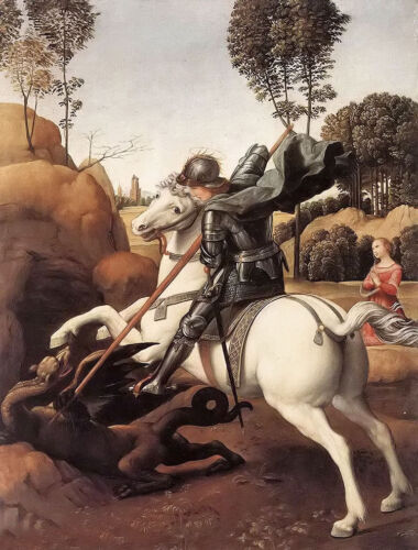 Oil painting Raphael - st george killing the dragon on white horse hand painted