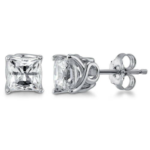 Silver Solitaire Stud Earrings Made with Swarovski Zirconia Princess 2.48 CT
