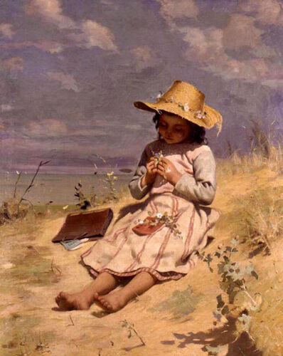 Oil painting paul peel - the young botanist little girl playing in field canvas