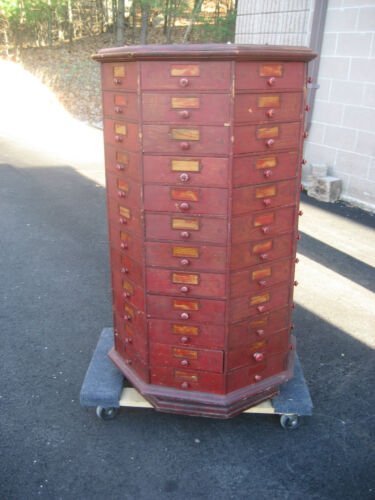 "c1900 BOLT & SCREW ANTIQUE octagonal hardware store cabinet 96 drawer 42.5"" tall"