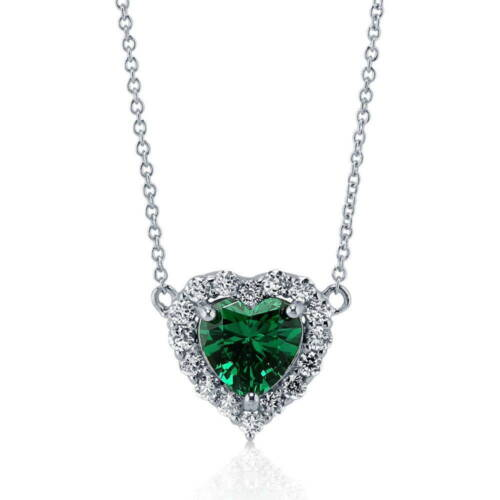 BERRICLE 925 Silver Heart Shaped Simulated Emerald CZ Halo  Pendant Necklace
