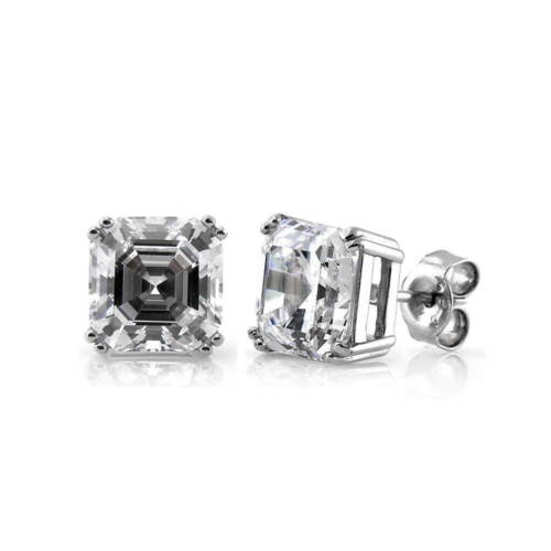 BERRICLE Sterling Silver Asscher Cut CZ Solitaire Stud Earrings