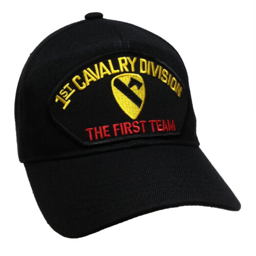11bba6fd3a9c8  9.5 U.S. Army 1st Cavalry Division Hat Black Ball Cap The First Team US  Army FirstHats